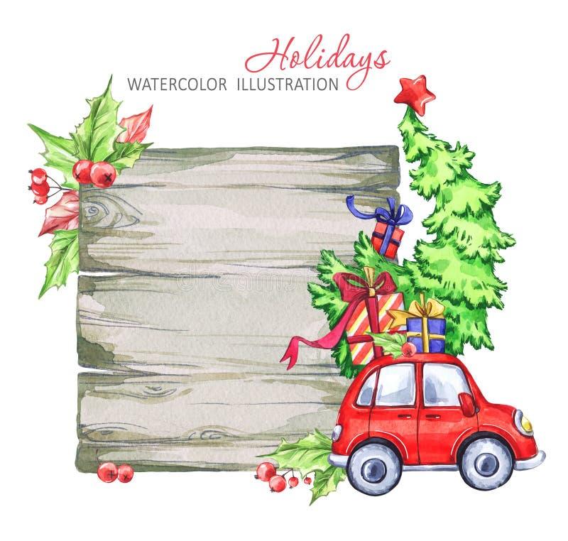 Zimy akwareli kartka z pozdrowieniami, drewniana rama z retro samochodem, choinka ilustracja wektor