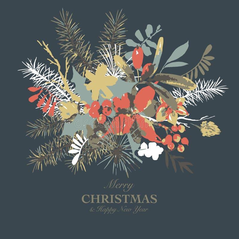 Zimy akwareli kwiecista kartka z pozdrowieniami z gałąź holly, kwiaty i jagody, royalty ilustracja