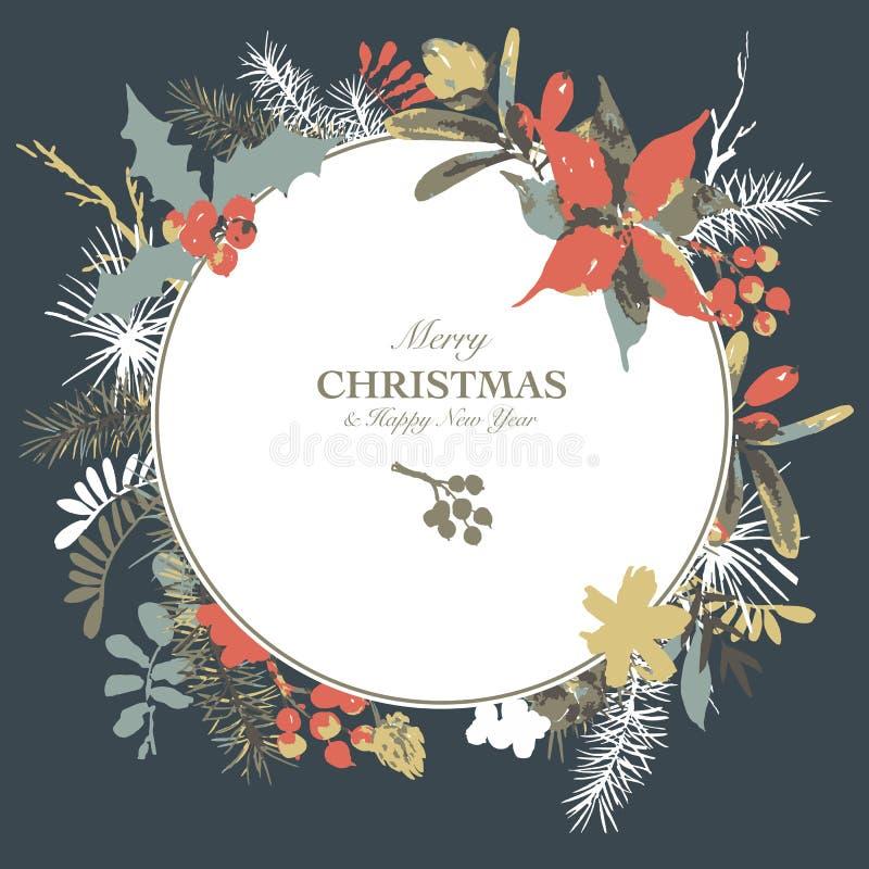 Zimy akwareli kwiecista kartka z pozdrowieniami z gałąź holly, kwiaty i jagody, ilustracja wektor