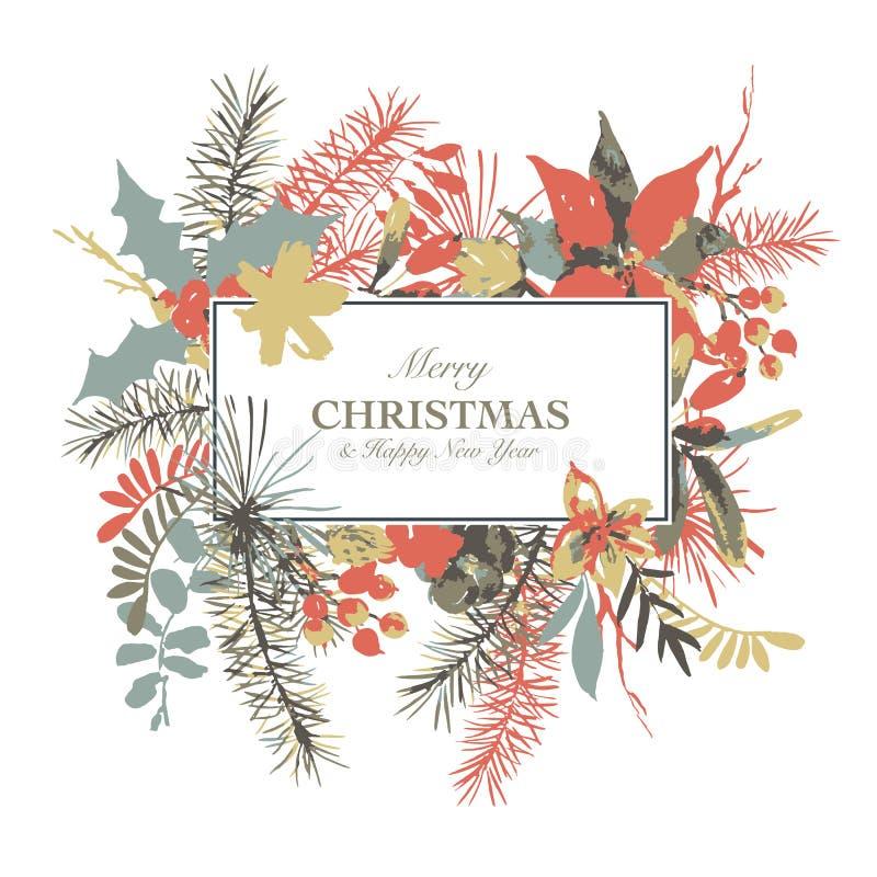 Zimy akwareli kwiecista kartka z pozdrowieniami z gałąź holly, kwiaty i jagody, ilustracji
