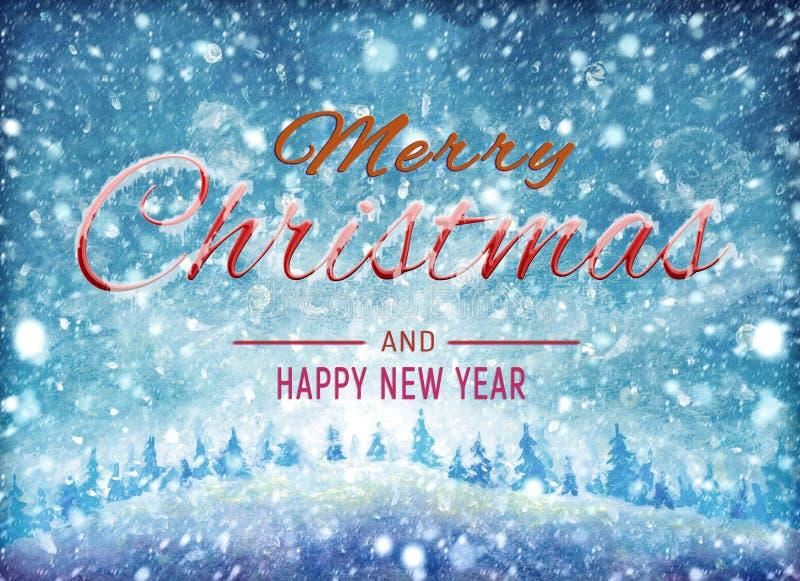 Zimy akwareli obrazu olejnego ilustracji grafika Pięknych słów Wesoło boże narodzenia i Szczęśliwa nowy rok sztuka kształtują ter ilustracja wektor