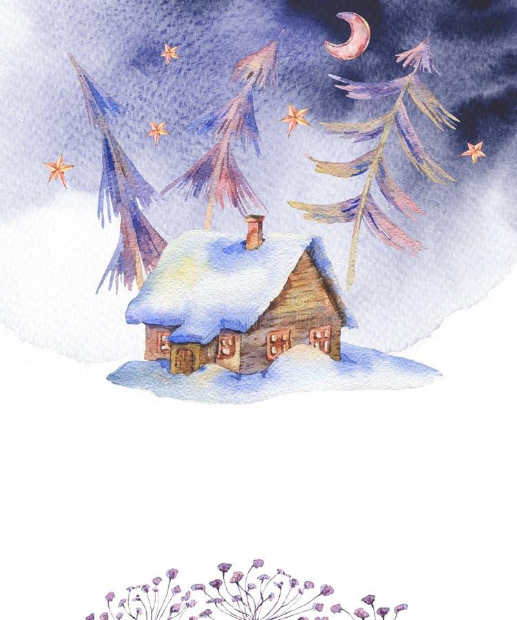 Zimy akwareli rocznika karta z domem zakrywał śnieg royalty ilustracja