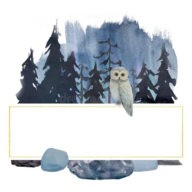 Zimy akwareli sowa w las ramie logo royalty ilustracja