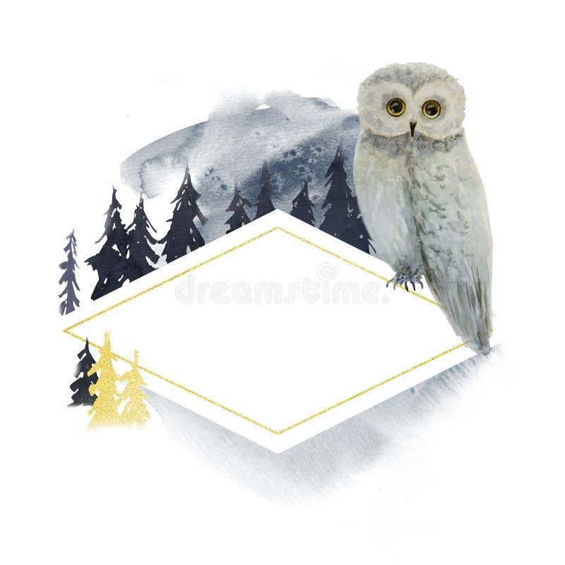 Zimy akwareli sowa w las ramie logo ilustracji