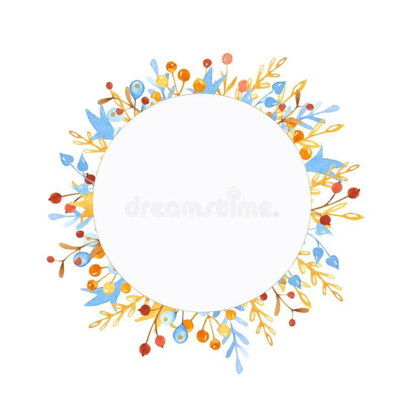 Zimy akwareli wianek, rama, sztandar z liśćmi, kwiaty, jagody rozgałęzia się ilustracja wektor