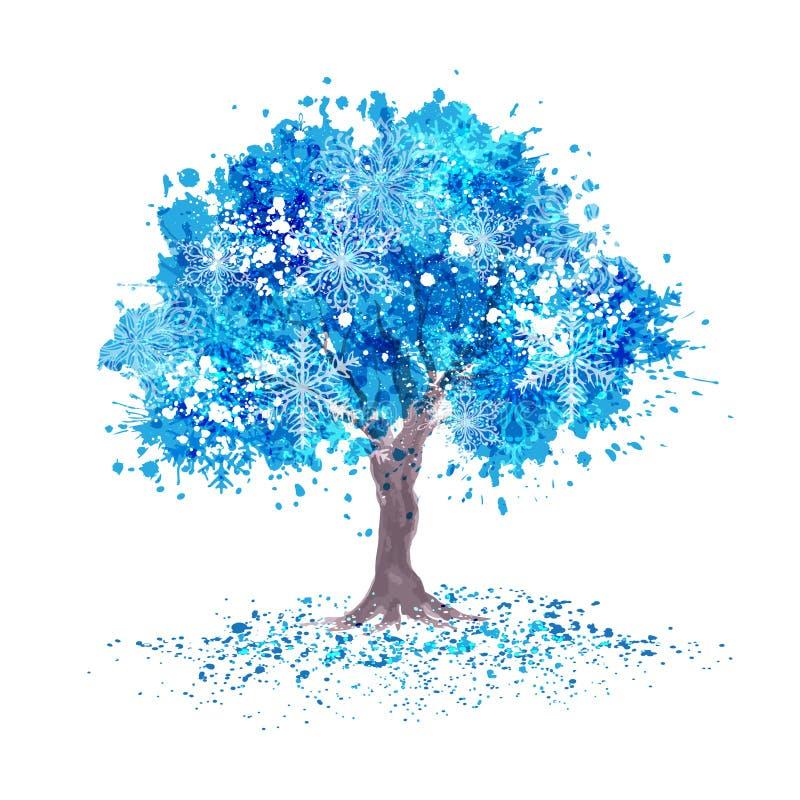 Zimy błękitny drzewo z płatkami śniegu zdjęcie royalty free