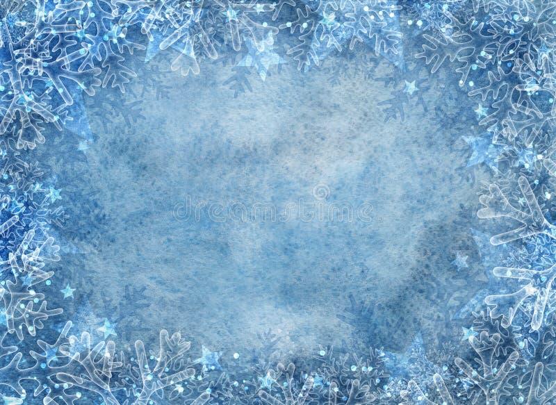 Zimy błękitny tło z płatkami śniegu zdjęcie stock