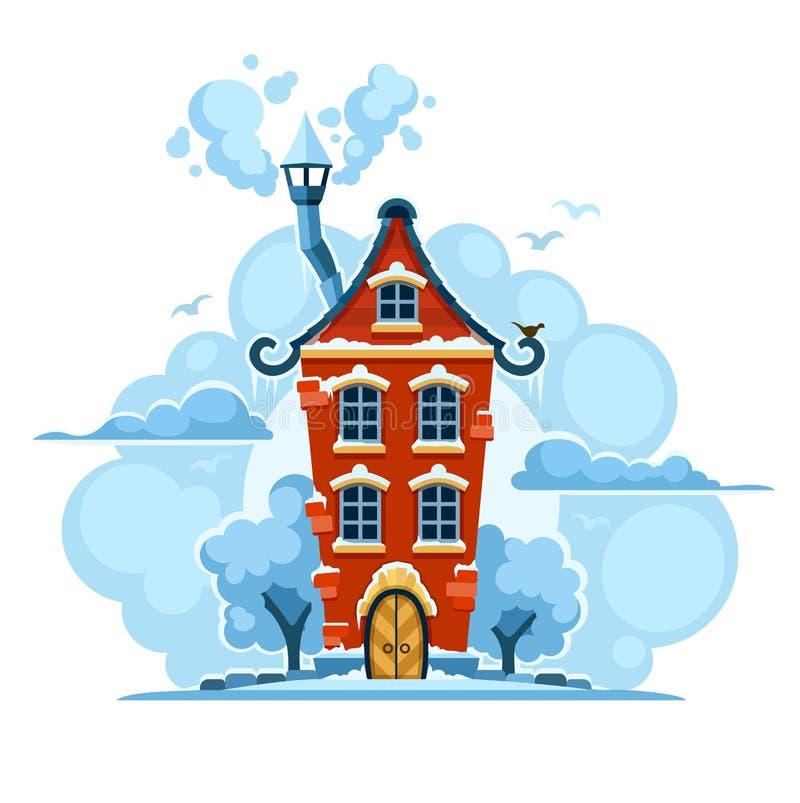 Zimy bajki dom w śniegu z chmurami ilustracja wektor