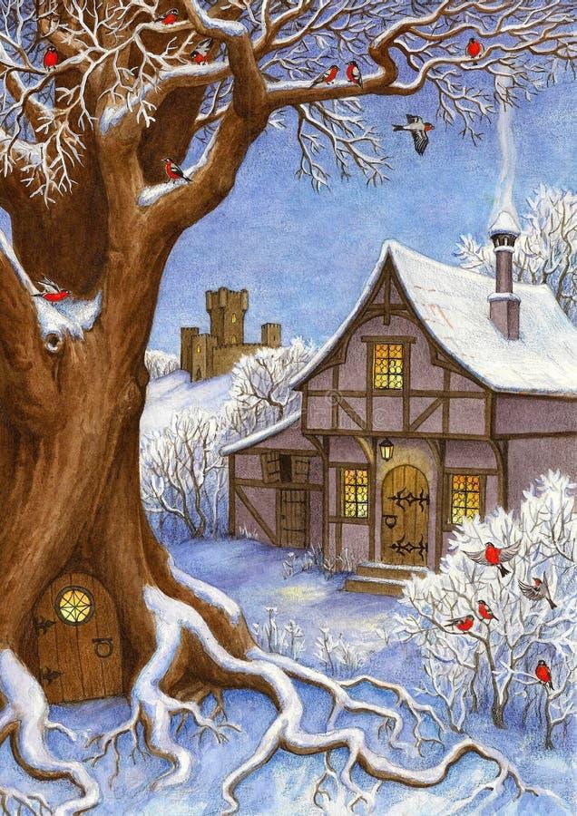Zimy bajki krajobraz ilustracja wektor