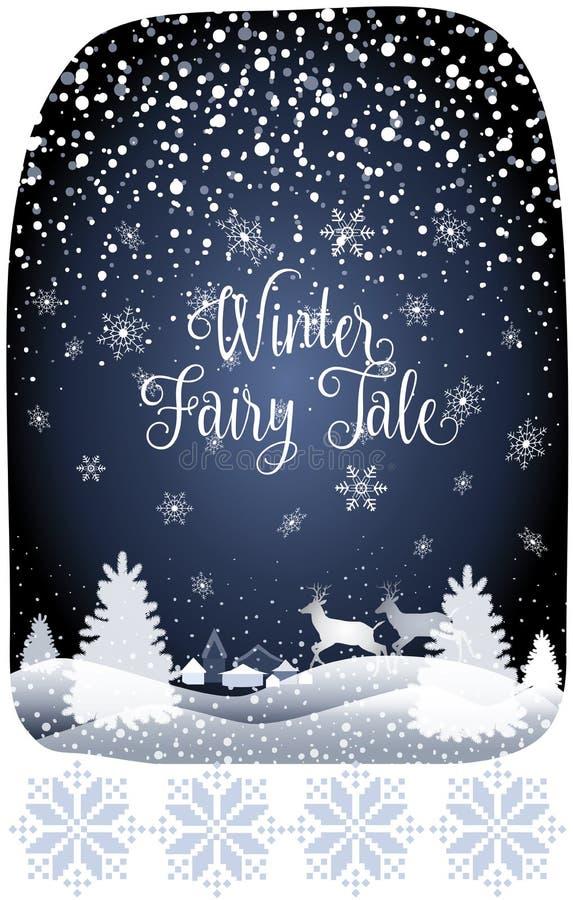 2019 zimy bajki nowego roku Wesoło bożych narodzeń lasu Wakacyjny Szczęśliwy Śnieżny krajobraz z reniferem ilustracja wektor