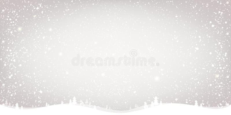 Zimy Bożenarodzeniowy tło z krajobrazem, płatek śniegu, światło, gra główna rolę xmas karciany nowy rok ilustracji