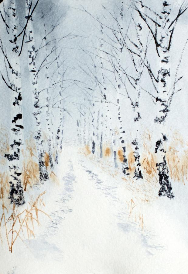 Zimy brzozy aleja ilustracja wektor