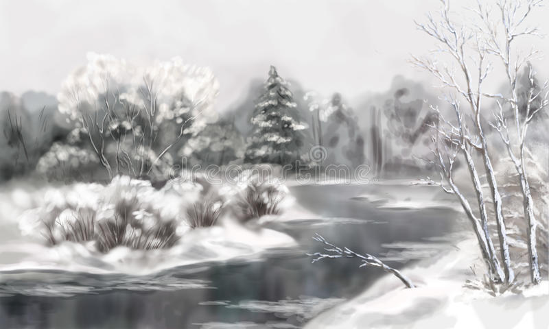 Zimy Cyfrowego akwareli krajobraz royalty ilustracja
