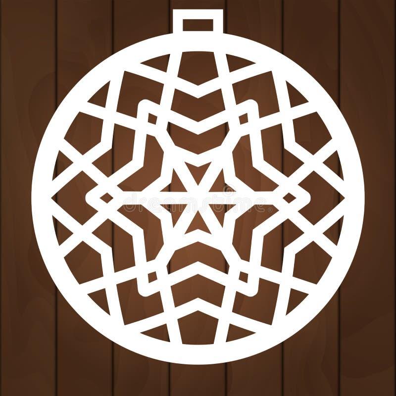 Zimy dekoracji wektorowy projekt Mas symbol dla papierowego rozcięcia, drewnianego cyzelowania i laseru rozcięcia, Choinek piłki ilustracji