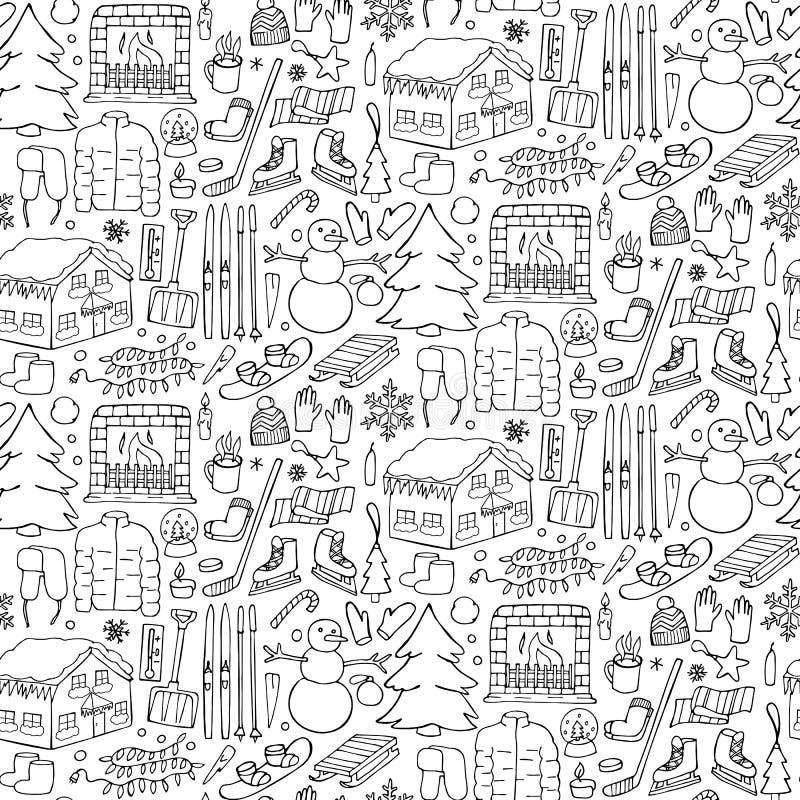 Zimy doodle bezszwowy wzór ilustracji