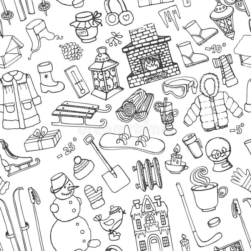Zimy doodle bezszwowy wzór Liniowi elementy ilustracja wektor