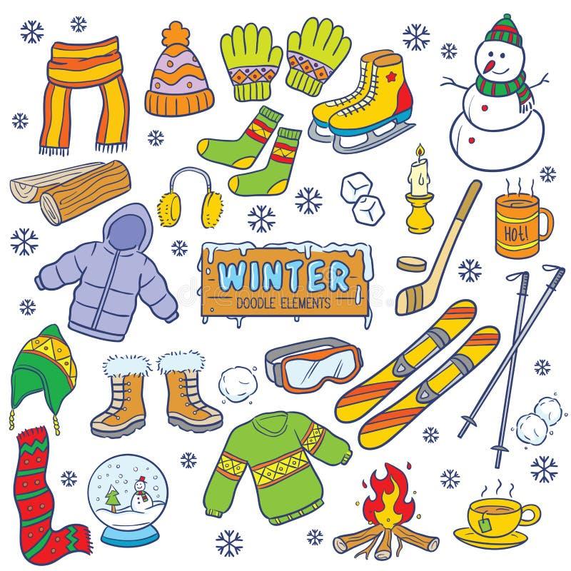 Zimy doodle elementy ilustracja wektor