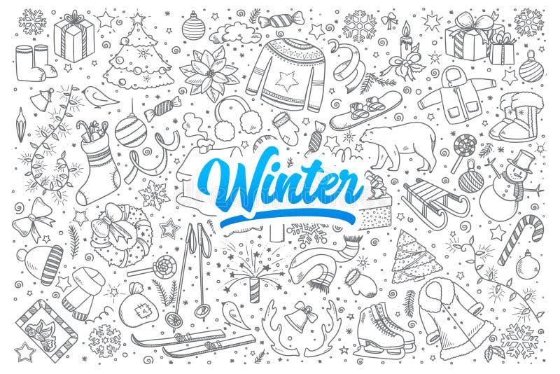 Zimy doodle ustawiający z literowaniem ilustracja wektor