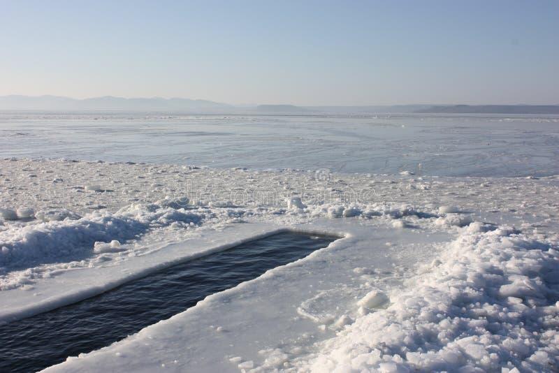 Zimy dopłynięcie, Vladivostok, Rosja obrazy royalty free