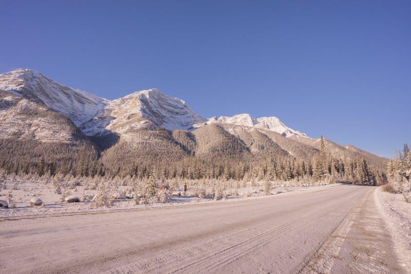 Zimy droga w Skalistych górach zdjęcie stock