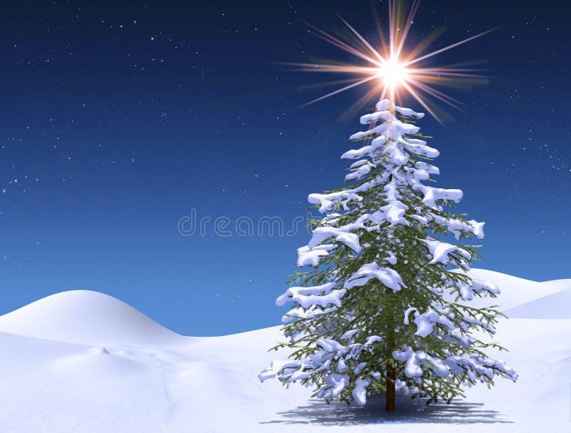Zimy drzewo przy magiczną Bożenarodzeniową gwiaździstą zimną nocą ilustracji