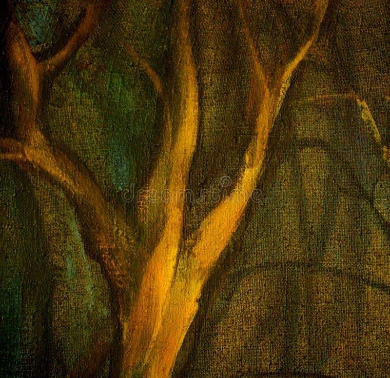 Zimy drzewo w noc parku, obraz, ilustracja ilustracji