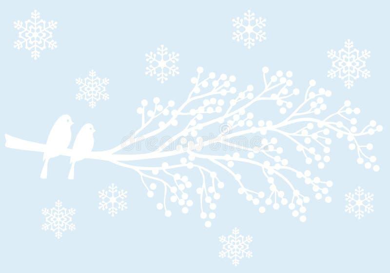 Zimy drzewo z jagodami i ptakami, wektor royalty ilustracja