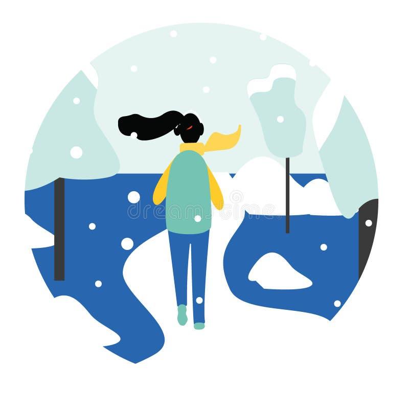 Zimy działający pojęcie - młoda ładna kobieta w ciepłym odziewa jogging w śnieg zakrywającym parku, płaski kreskówka wektor ilustracja wektor