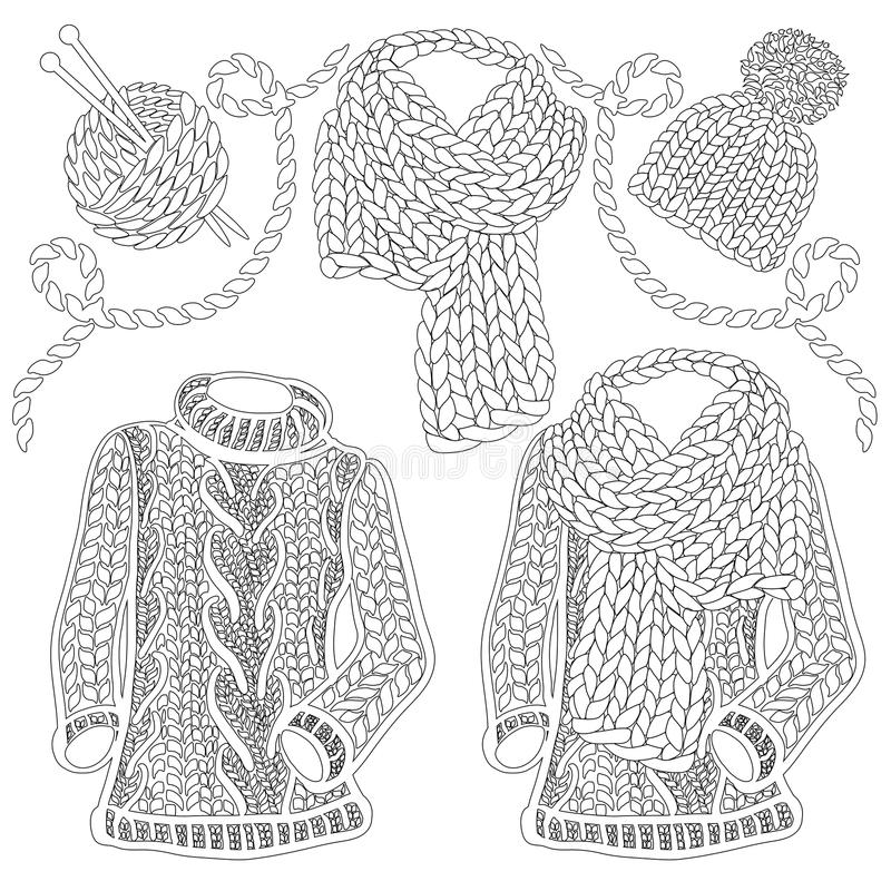 Zimy dziający akcesoria, odzież i -, ilustracji
