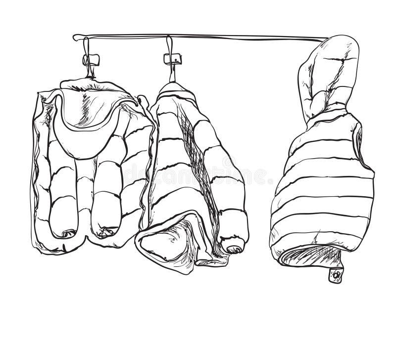 Zimy dziecka kurtki nakreślenie ręka patroszona royalty ilustracja