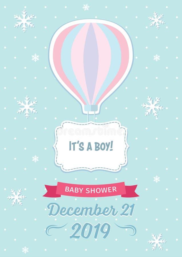 Zimy dziecka prysznic szablon z gorącego powietrza balonu, płatków śniegu, tasiemkowej i dekoracyjnej ramą na bławym kropkowanym  ilustracja wektor