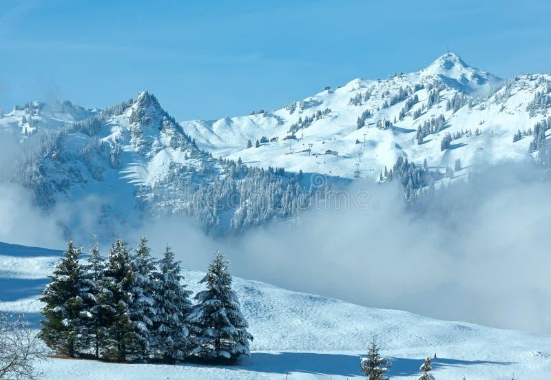 Zimy góry krajobraz (Austria, Bavaria) obraz stock