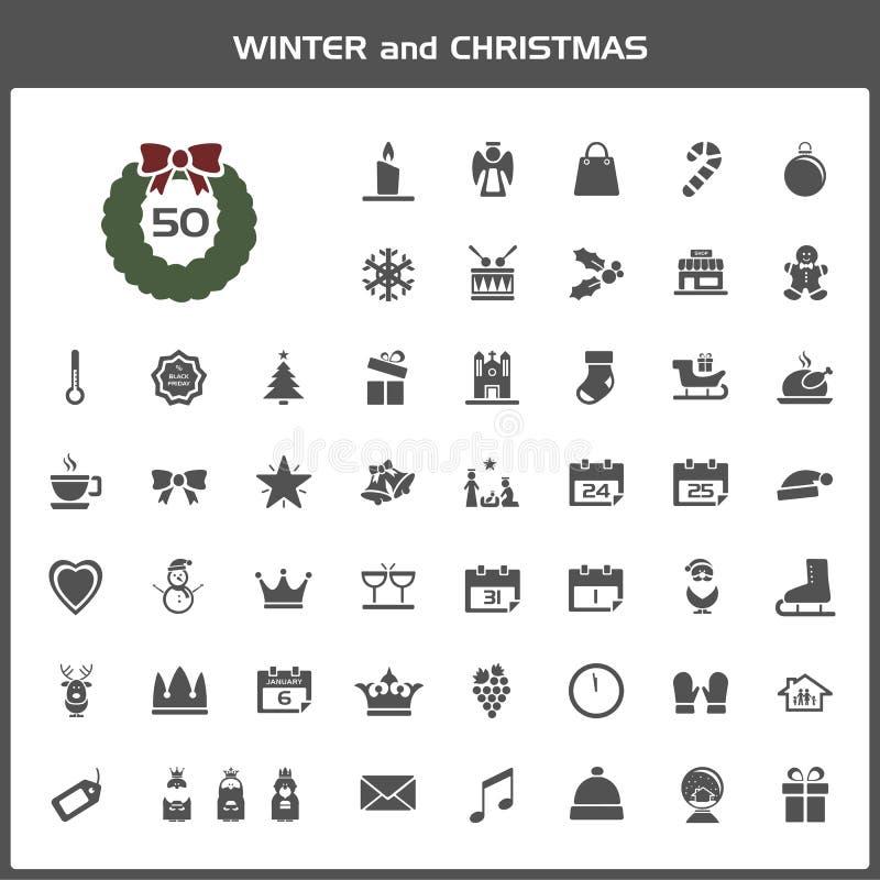 Zimy i boże narodzenie ikony set ilustracji