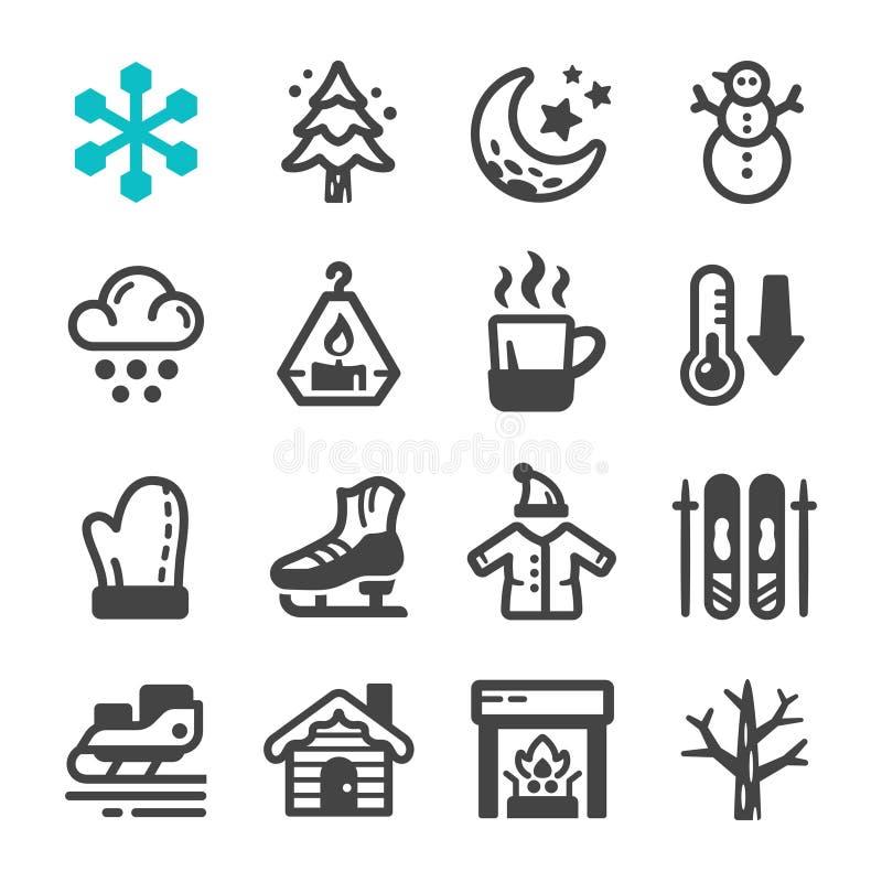 Zimy ikony set royalty ilustracja
