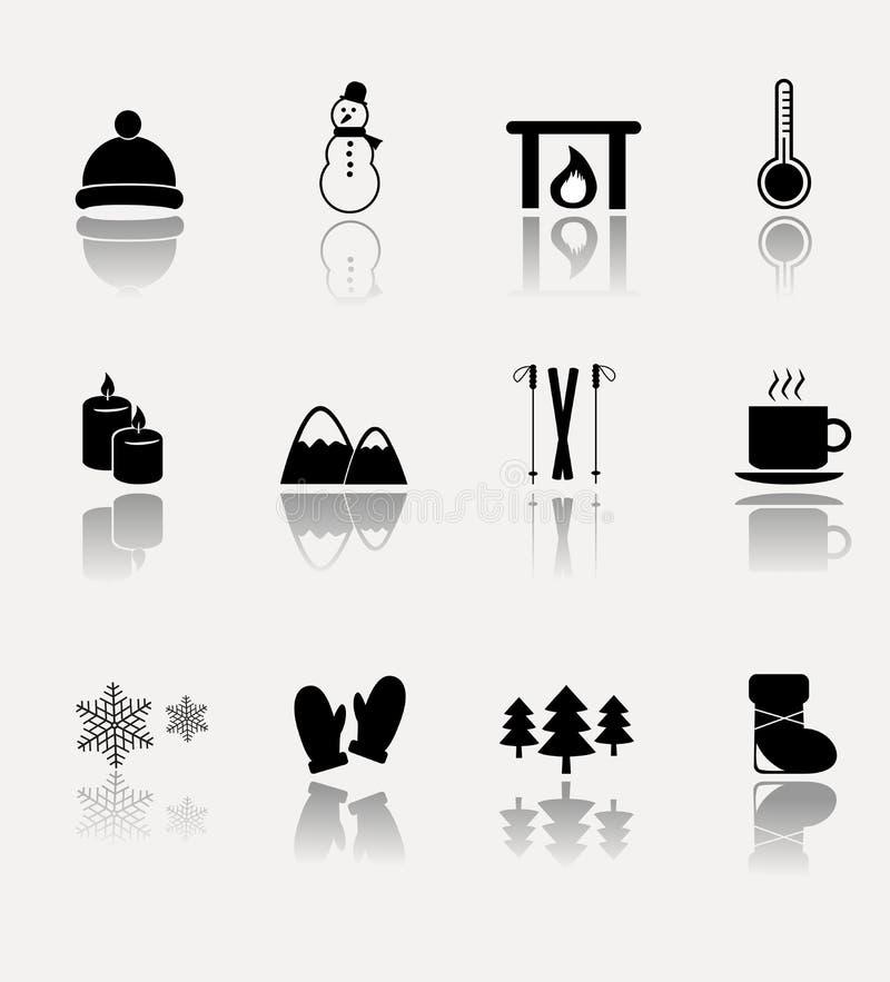 Zimy ikony wektorowy set ilustracja wektor