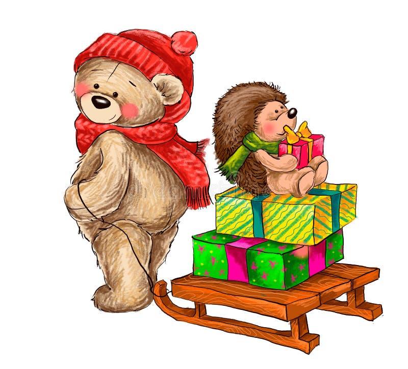 Zimy ilustracja niedźwiedź niesie saneczki z jeżem fotografia stock