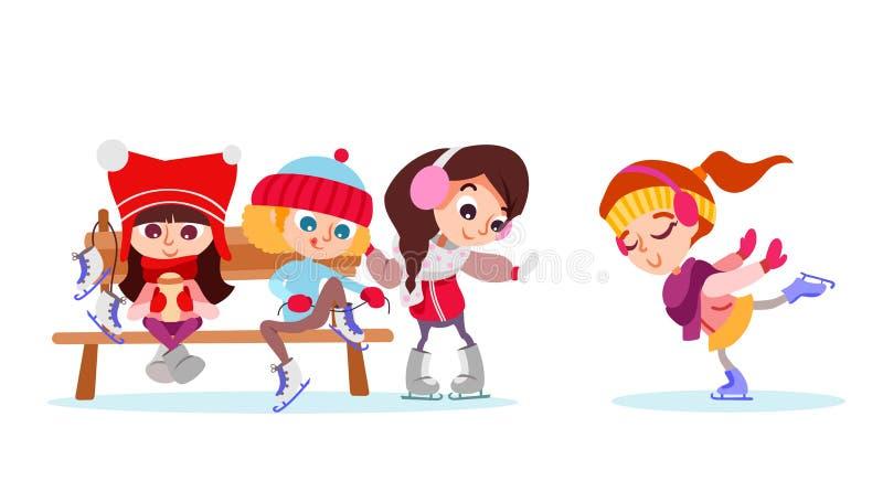 Zimy ilustracja z grupą śliczna dziewczyna na lodowym lodowisku ilustracja wektor