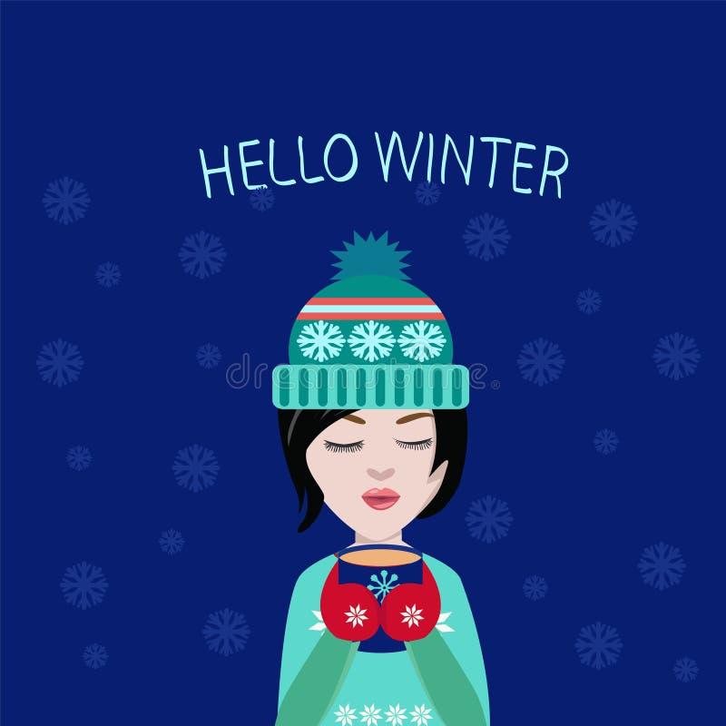 Zimy ilustracyjna śliczna dziewczyna z filiżanką kawy lub herbatą w jego h royalty ilustracja