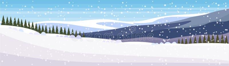 Zimy jedlinowego drzewa lasu krajobrazu śnieżnego halnego tła sztandaru horyzontalny mieszkanie ilustracji