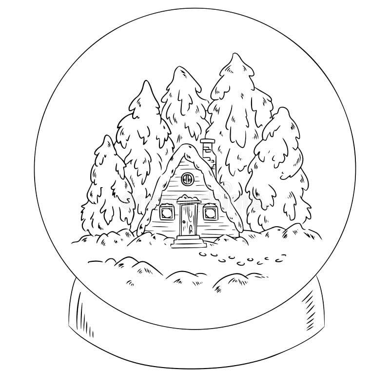 Zimy kabinowa nazwa użytkownika śnieżna kuli ziemskiej scena dla barwić royalty ilustracja
