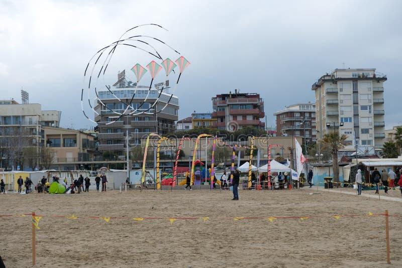 Zimy kani festiwal w Rimini, Włochy Opróżnia podczas przyprawiającego daleko zdjęcia stock