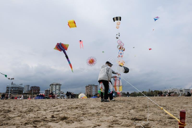 Zimy kani festiwal w Rimini, Włochy Opróżnia podczas przyprawiającego daleko zdjęcie royalty free