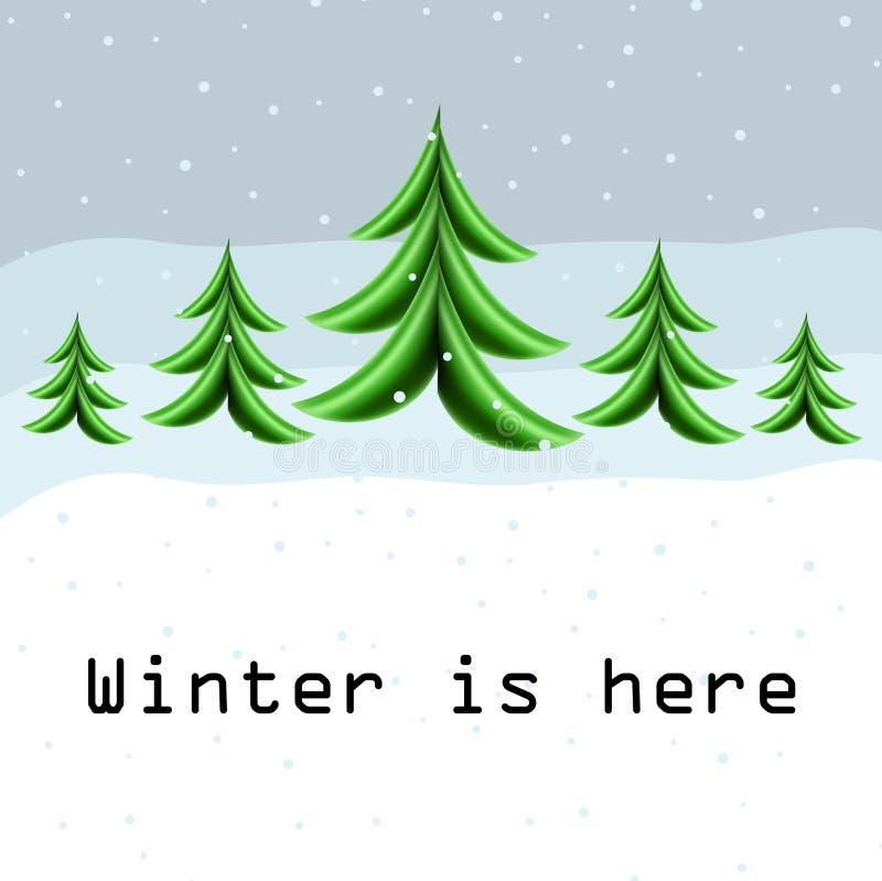 Zimy karta z abstrakcjonistyczną choinką ilustracji