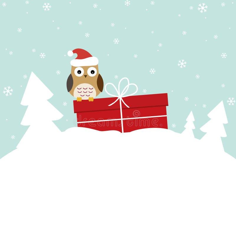 Zimy karta z słodką sową zdjęcia stock