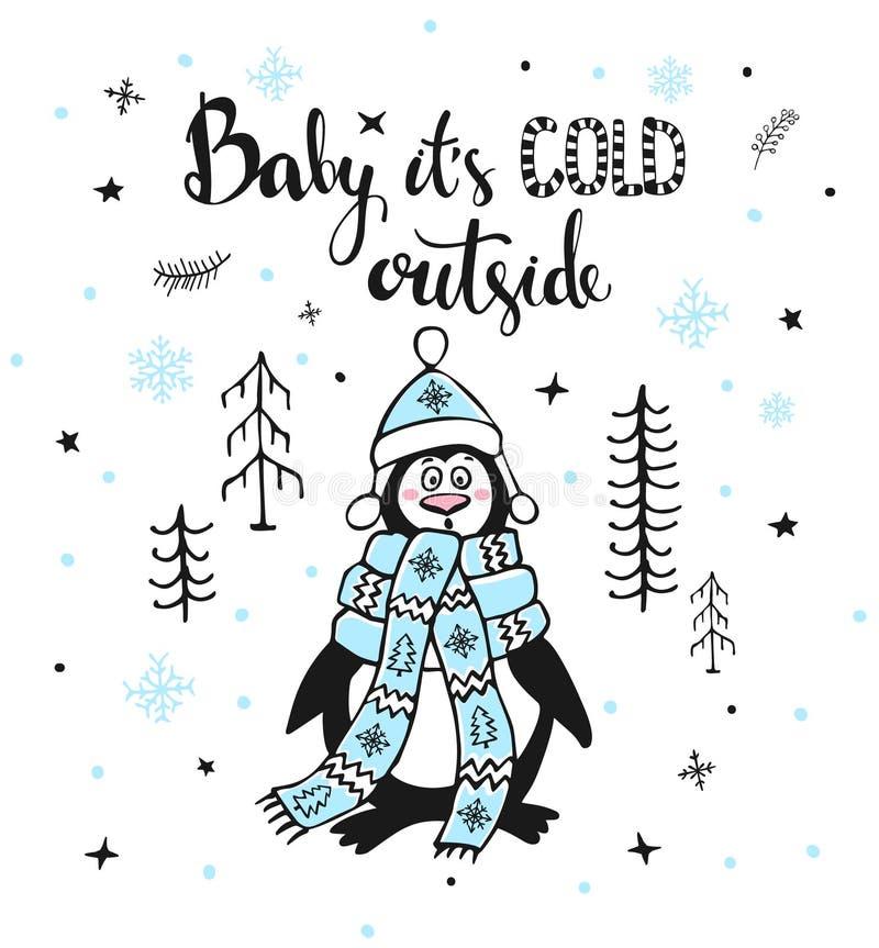 Zimy kartka z pozdrowieniami z ślicznym śmiesznym marznięciem outside w lasowym pingwinie i ręcznie pisany wycena royalty ilustracja
