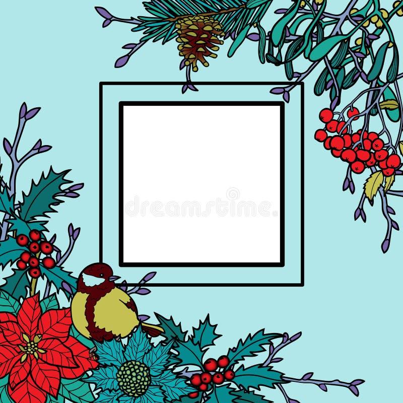 Zimy Kolorowa rama ilustracja wektor