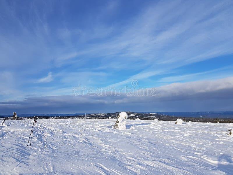 Zimy kraina cudów ładny niebo z cienkimi chmurami obraz royalty free
