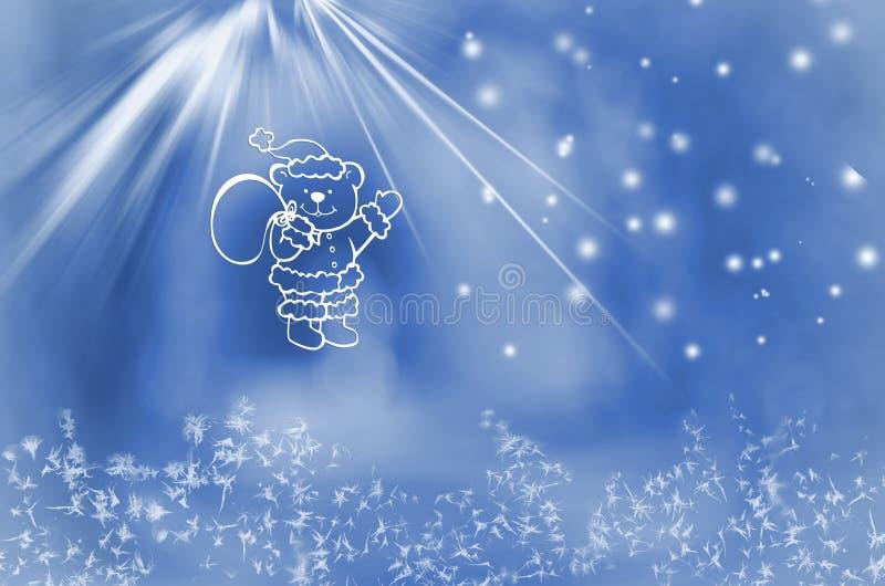 Zimy kraina cudów Miś z torbą teraźniejszość na śnieżnym błękitnym tle ilustracji