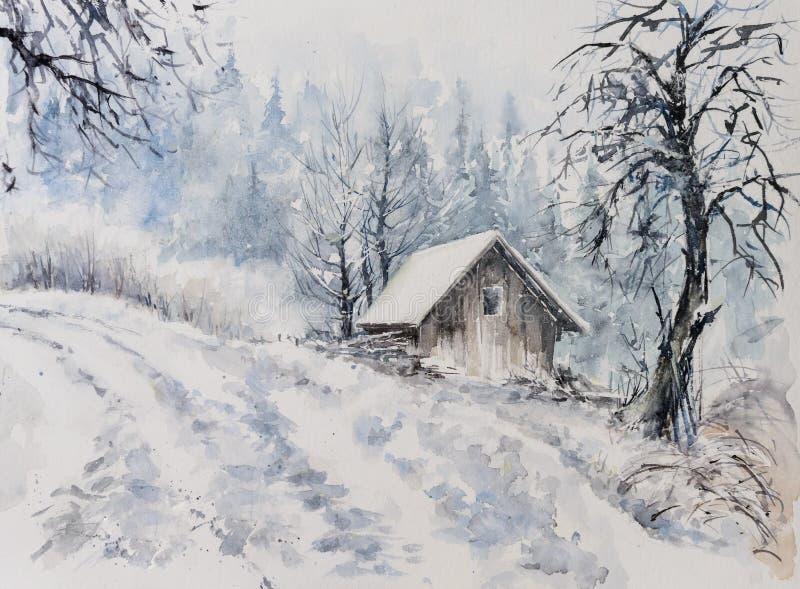 Zimy krajobrazowa akwarela malująca royalty ilustracja