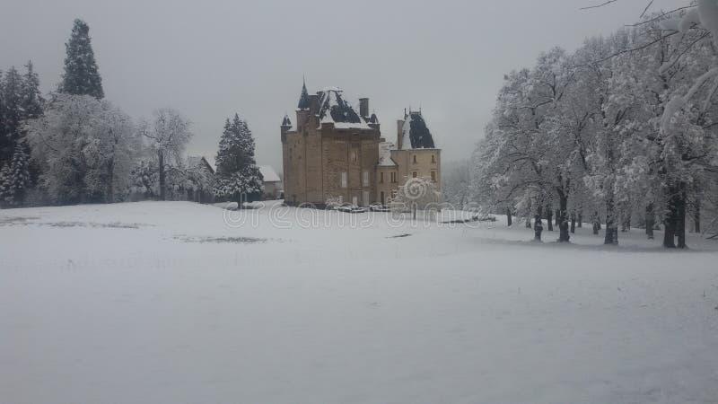 Zimy krajobrazowy śnieżny czarny światło białe mglisty obrazy royalty free